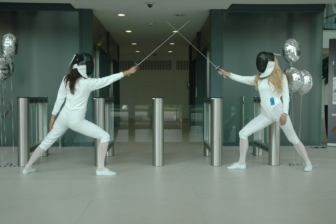 Exhibition Staff give fencing demonstration